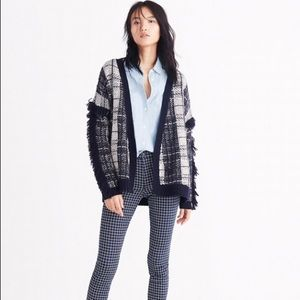 Madewell Plaid Fringe Cardigan Sweater Wool